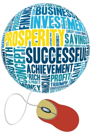 mouse with prosperity info-text graphics and arrangement concept on white background  word cloud