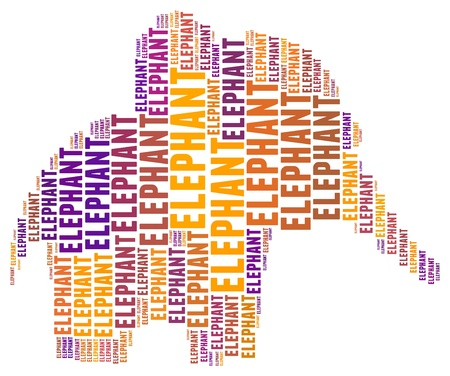 Elephant in word collage  photo