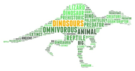 dinosours in word collage  Stock Photo