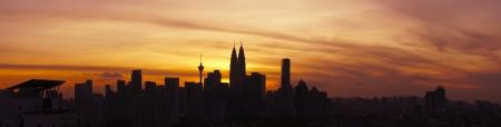 lumpur:  Panaromic View of Kuala Lumpur Cityscape during sunset