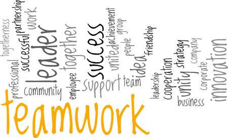 Teamwork concept in woord wolk op een witte achtergrond