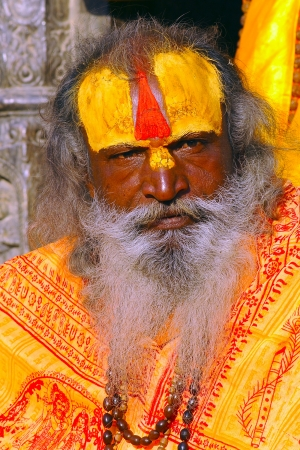KATHMANDU, NEPAL - MARCH 24: An unidentified sadhu at Pashupatinath Temple in Kathmandu, Nepal on March 24, 2013. Sadhu refer to holy man who have chosen to devoted his live on their own spiritual practice.