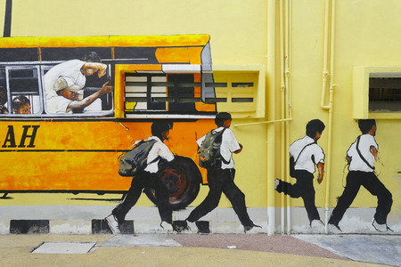 SHAH ALAM,MALAYSIA - JAN 14  Street Mural depicting a school bus and students  by students from Universiti Teknologi Mara  UiTM  in Shah Alam on Jan  15 , 2014