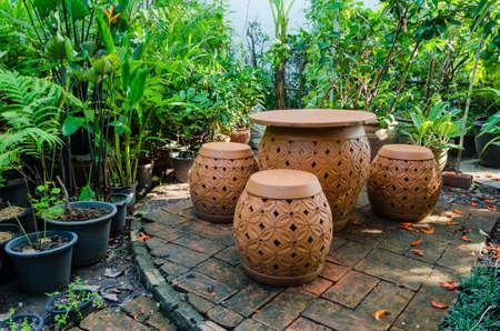 leisurely: Sit leisurely in the garden Stock Photo
