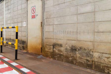 guard rail: Emergency exit the yellow guard rail. Stock Photo