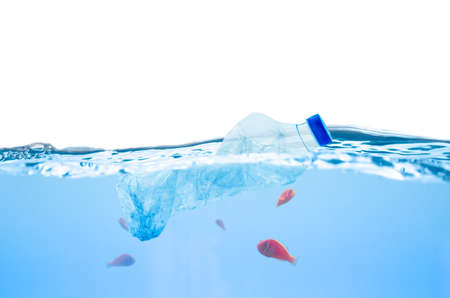 Plastic bottle pollution in ocean and fish underwater Stock Photo