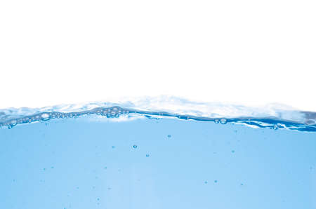 Water splash and surface with bubble on white background