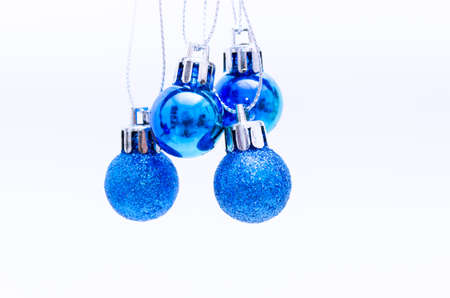 Blue Christmas Tree Ball on white background