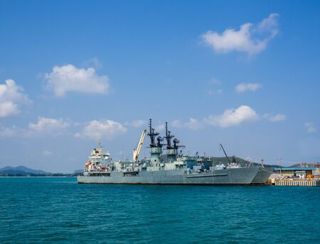 warship at the harbor
