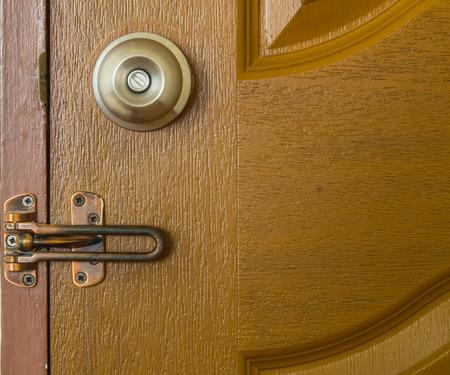 latch: Door Knob and latch on Wood Door