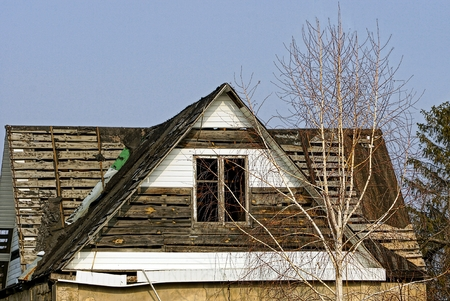 attic: Old wooden attic with Windows