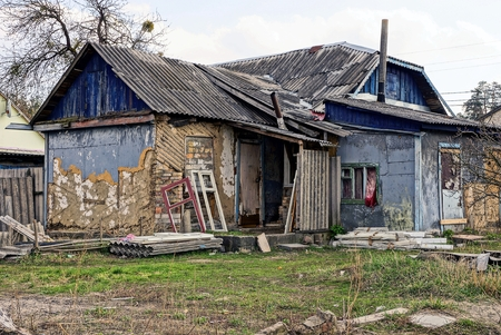 Old dilapidated private house