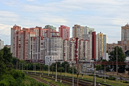 storey: Residential array of multi-storey buildings for the railway Stock Photo