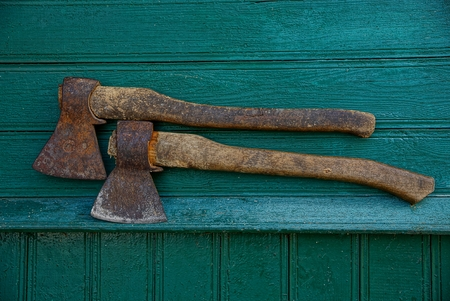 two iron rusty ax Stock Photo