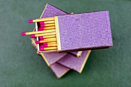 pasteboard: Open boxes with matches on the table Stock Photo