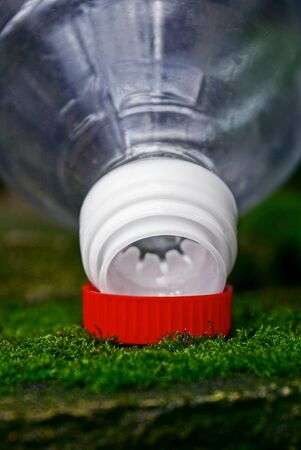 part of an empty plastic bottle and a red cork on a green moss