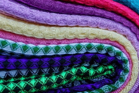 texture of a set of colored woolen cloth Stock Photo