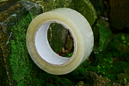 a hank of transparent tape lies on old stones covered with moss Stock Photo