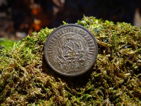 old Soviet silver coin on green moss