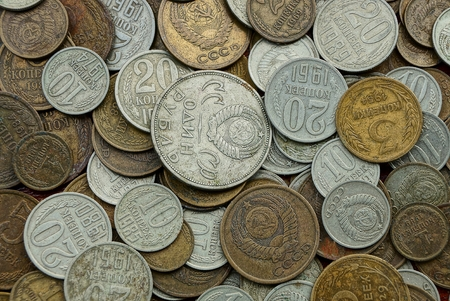 texture of white and brown old Soviet coins Archivio Fotografico