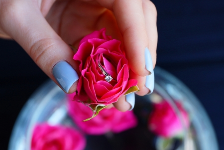 red rose bud with gold ring in girl hand
