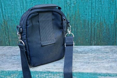 black cloth bag on a gray table