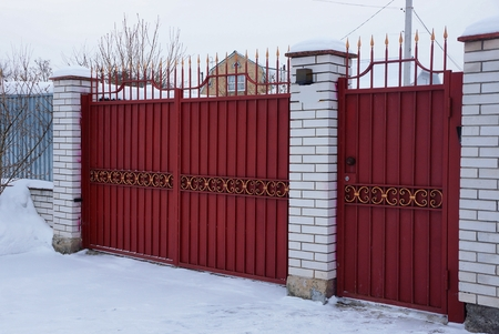 red metal gate