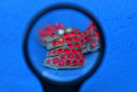 red rubies on the blue table