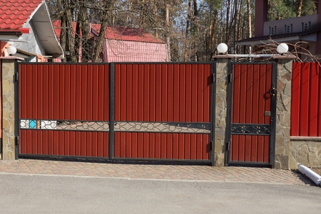 big red metal gate