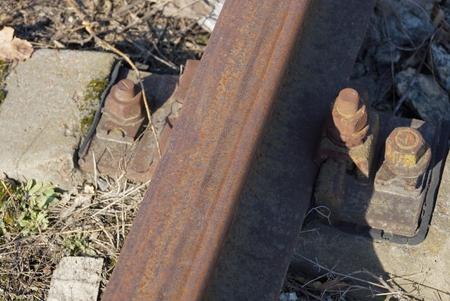 rails of brown steel