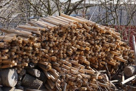 long brown wooden firewood