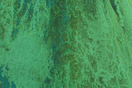 grüner Metallhintergrund der schmutzigen Eisenwand Standard-Bild