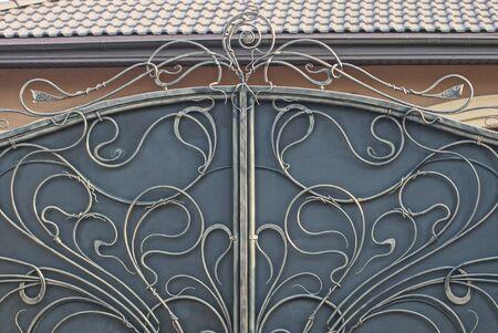 wrought iron metal texture on gray iron wall