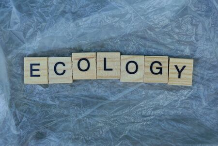 word ecology from wooden letters on a piece of gray crumpled cellophane Stok Fotoğraf