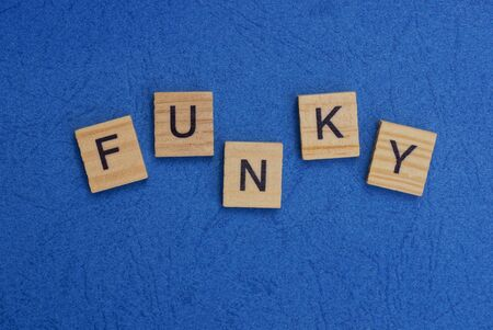 word funky made of wooden letters on a blue table