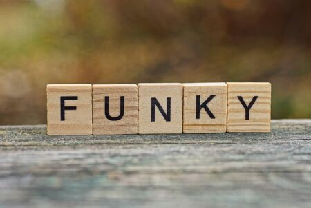 word funky made of wooden letters on gray table Stok Fotoğraf