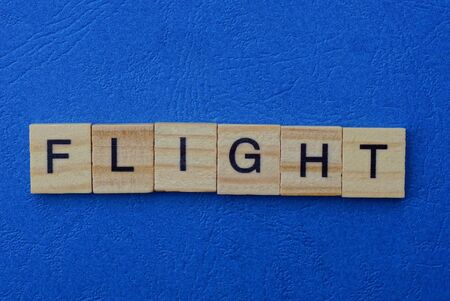 word flight made of brown wooden letters on a blue table