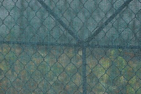 green texture of metal mesh and a piece of cloth in the fence wall 스톡 콘텐츠