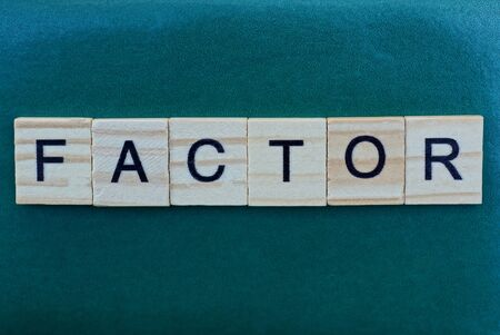 word factor made from wooden gray letters lies on a green background