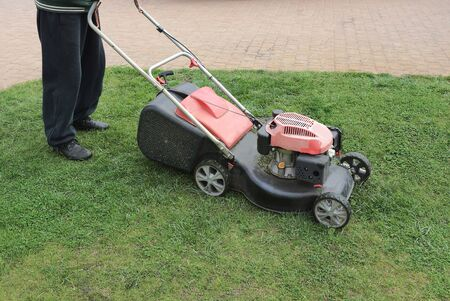 a man with a lawnmower mows green grass on a brown sidewalk 스톡 콘텐츠