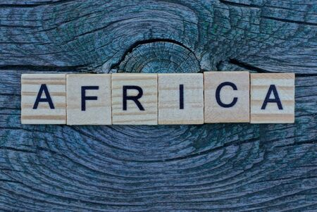 word africa made from wooden letters lies on a gray table 스톡 콘텐츠