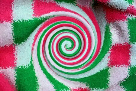 color background from abstraction and distortion with twisting on a square patterned fabric