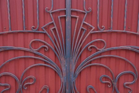 black red metal texture forged pattern on the gate
