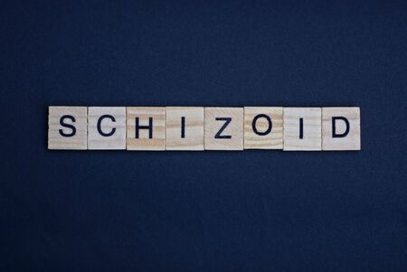 word schizoid made from brown wooden letters lies on a black table Banco de Imagens