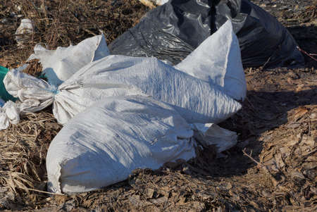 a pile of white garbage bags lie on gray dry grass and land on nature on a sunny day