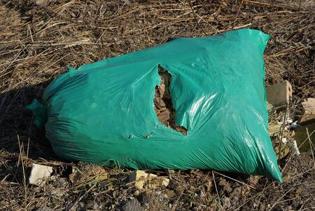 one large ragged green plastic bag with garbage lies on dry brown vegetation and gray grass in nature
