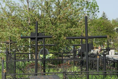 two black iron crosses in a cemetery among green trees