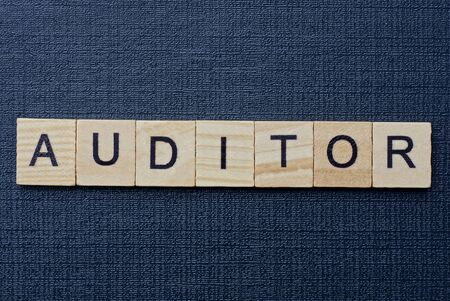 text on word auditor from gray wooden letters on a black background Standard-Bild