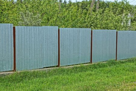 gray metal wall of a fence in the street in green grass and vegetation Standard-Bild
