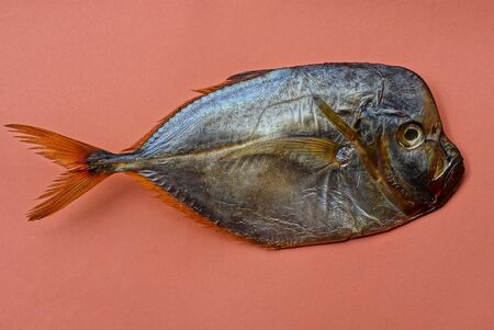 food from one big brown sea smoked fish waomer lies on an orange background